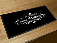 Personalised Black & White Cocktail Bar runner counter mat Pubs & Cocktails Bar