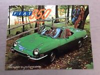 1972 Fiat 850 Sport Spider Original Car Sales Brochure Folder