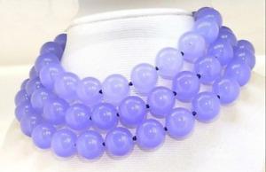 "Huge 14mm Lavender Jade Round Gemstone Beads Necklace Long 36"" AAA"