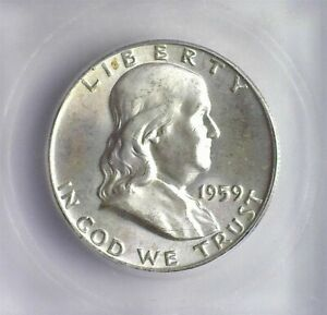 1959 FRANKLIN SILVER 50 CENTS ICG MS 65 LISTS FOR $50!!