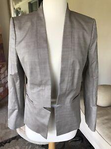 NWT Ann Taylor taupe no button mandarin collar blazer size 6P $198!