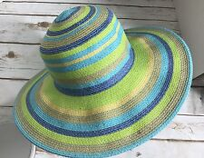 Coldwater Creek Beach Hat Floppy Sun Bright Colors Foldable Bendable Blue Green