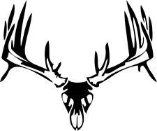 "Buck Skull Deer Antler Hunting Sportsman Decal Sticker- 6"" Wide White Color"