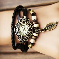 idée cadeau anniversaire petit prix montre femme ado noire retro bracelet perle