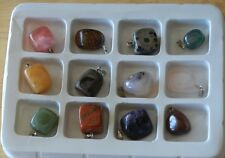 "Twelve Natural Polished ""Stones From Around The World"" Jewelry Making Set"