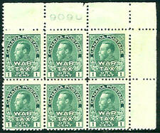 CANADA #MR1 1¢ War Tax Stamp, Plate No. Block of 6 NH
