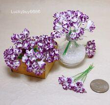 50 Purple Rim Scrapbook Craft 7mm Mulberry Paper Flower Wedding Card Artificial