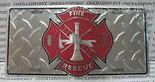 FIRE RESCUE LICENSE PLATE PATRIOTIC FIREMEN ALUMINUM EMBOSSED SIGN CAR TAG AUTO
