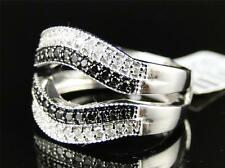 10K Ladies White Gold Black Diamond Engagement Solitaire Ring Jacket Band .55 Ct