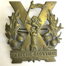 Large Antique Army Tyneside Scottish Cap Badge Brass 57mm X 52mm