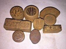 Vintage Printer Press Metal Block Letterpress Stamps Dies solid steel LOT of 9