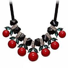 "CHERRIES Rhinestone Pendant Necklace 16"" Black Rope Necklace"