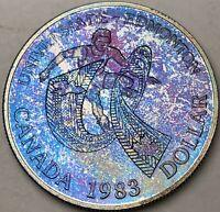 1983 CANADA SILVER DOLLAR PROOF MONSTER BLUE PURPLE TONED GEM BU UNC COLOR (DR)