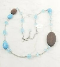 "Lia Sophia ""DAKOTA"" Wood, Genuine Turquoise Rhodium Plated, 30-33"" Necklace"