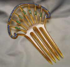 Vintage Art Deco Jeweled Rhinestone Celluloid 4-Prong Hair Comb - missing stones