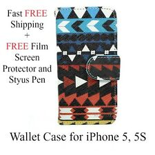 For Apple iPhone 5, 5S Aztec Tribal Flip Wallet Folder Stand Case Cover