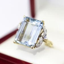 Art Deco Vintage Aquamarine Cocktail Dinner ring with Diamonds, Glamour!