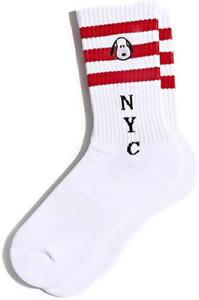 Peanuts Snoopy NYC Red Striped White Retro Athletic Socks $12 - NWT