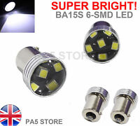 2x BA15S 6-SMD LED 2835 Xenon White SUPER BRIGHT Reverse Tail Signal Bulbs P21W