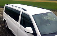 VW T5 T6 onwards 2003 TRANSPORTER ALUMINIUM ROOF RAIL BARS RACKS BLACK SWB ..