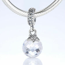Clear Crystal Pave Authentic 925 Sterling Silver Round Charm Bead fit Bracelet