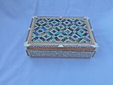 "Egyptian Inlaid In & Out Mother of Pearl Paua Jewelry Cigarette Box 6.75"" #740"