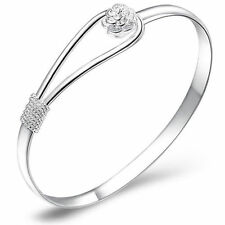 New Trendy Rose 925Sterling silver Thick Charm Net Cuff Bracelet bangle