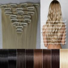 """AU Location 17""""23""""26"""" Clips in Hair Extensions Straight Curly 8pcs Full Head iw"""