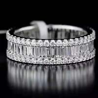 14K White Gold Finish Baguette & Round Cut Diamond Wedding Eternity Band Ring