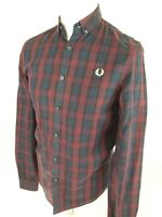Mens Fred Perry Blue Check Plaid Tartan Shirt Small 38 Chest Mod Ska