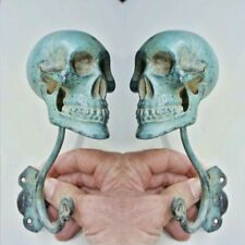 "2 Large SKULL HOOKS oxidised green age Brass old style day of the dead 6 ""long B"