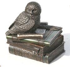 "Owl of Athena Statue Sculpture Symbol of Wisdom Stash Box Bronze Finish 4.7"""