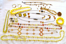 Mixed Jewelry LOT Yellow Orange Costume Necklace Bracelet Earrings Vtg to Now