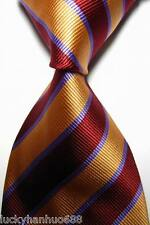 New Classic Stripes Red Purple Gold JACQUARD WOVEN 100% Silk Men's Tie Necktie