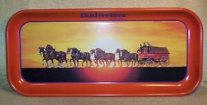 """1992 BUDWEISER ANHEUSER BUSCH CLYDESDALES METAL TRAY 19"""" LONG BY 8-1/2"""" WIDE"""