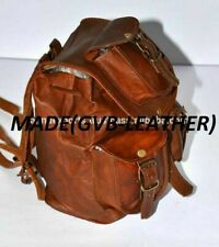 Leather Solid Messenger Backpack Rucksack School Bag Large Mens Bag