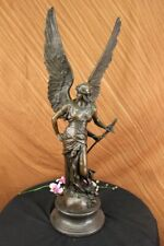 SIGNED Dalou BRONZE WINGED VICTORY Winged Angel Nike Victory Goddess Art statue