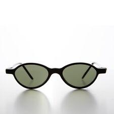 Black Small Oval Slim Edgy Hipster Vintage 1990s Sunglass -  Payton