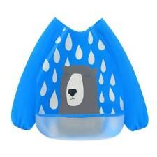 Baby Kids Waterproof Sleeve Burp Cloths Bibs Feeding Smock Painting Anti-pigment Blue