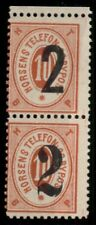 1889, Denmark Locals Horsens 2ore on 10ore pair w/2 types of ovpt (Daka #27)