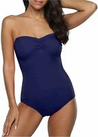Hilor Women's One Piece Swimsuits Bandeau Bathing Suits with, Navy, Size 8.0 1IF
