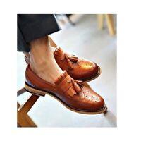 Handmade Men's Tan Wing Tip Brogue Fringes Tassels Slip Ons Dress Leather Shoes