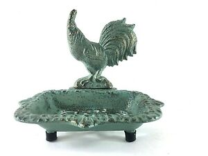 NEW Cast Iron Antique Rustic Farm Style Footed Soap Sponge Dish Rooster Green