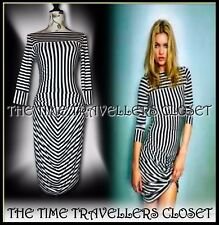Kate Moss Topshop Black Ivory Cream Liquorice Stripe Bodycon Stretch Dress UK 8