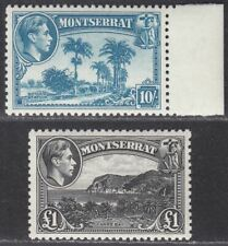 Montserrat 1948 KGVI 10sh Pale Blue, £1 Black UM Mint SG111-112 cat £53 MNH
