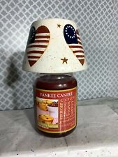 Home Interiors Patriotic American USA Flag Heart Jar Candle Shade Topper Ceramic