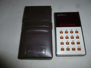 VINTAGE ROCKWELL INTERNATIONAL 10R 10 R LED CALCULATOR W ORIGINAL CASE 1970S