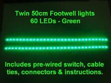 Twin 50cm Green LED interior footwell lights waterproof & flexible exterior neon