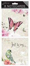 8 biglietti di auguri in bianco nota Farfalla Bird PARTY invitare grazie Compleanno