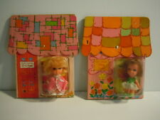 RARE SET VINTAGE 1968 CRAGSTAN DOLLS: CINDY JOY PLAYHOUSE DOLLS IN BED,PLAY ROOM